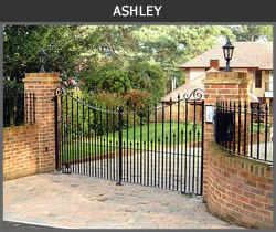 Ashley wrought iron entrance gate design from Ironwood Gates